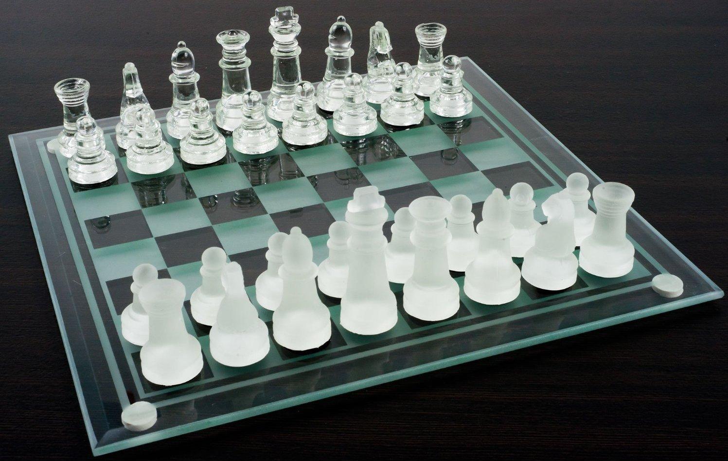 Glass Chess And Checker Board Set