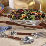 Wheelbarrow Salad Bowl. Shovel and Pitchfork Servers.