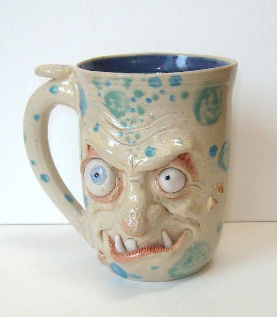 Handcrafted Zombie Mug-Sneaky-Face