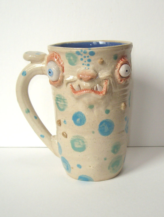 Handcrafted Zombie Mugs-Bug Eyed Big Arse Monster Face