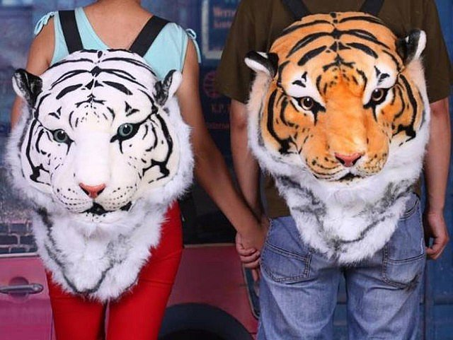 Tiger Head Plush Backpack1