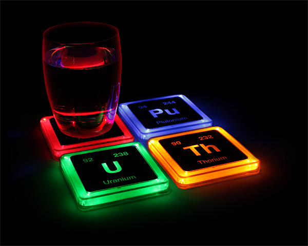 Radioactive Elements Glowing Coaster Set 1