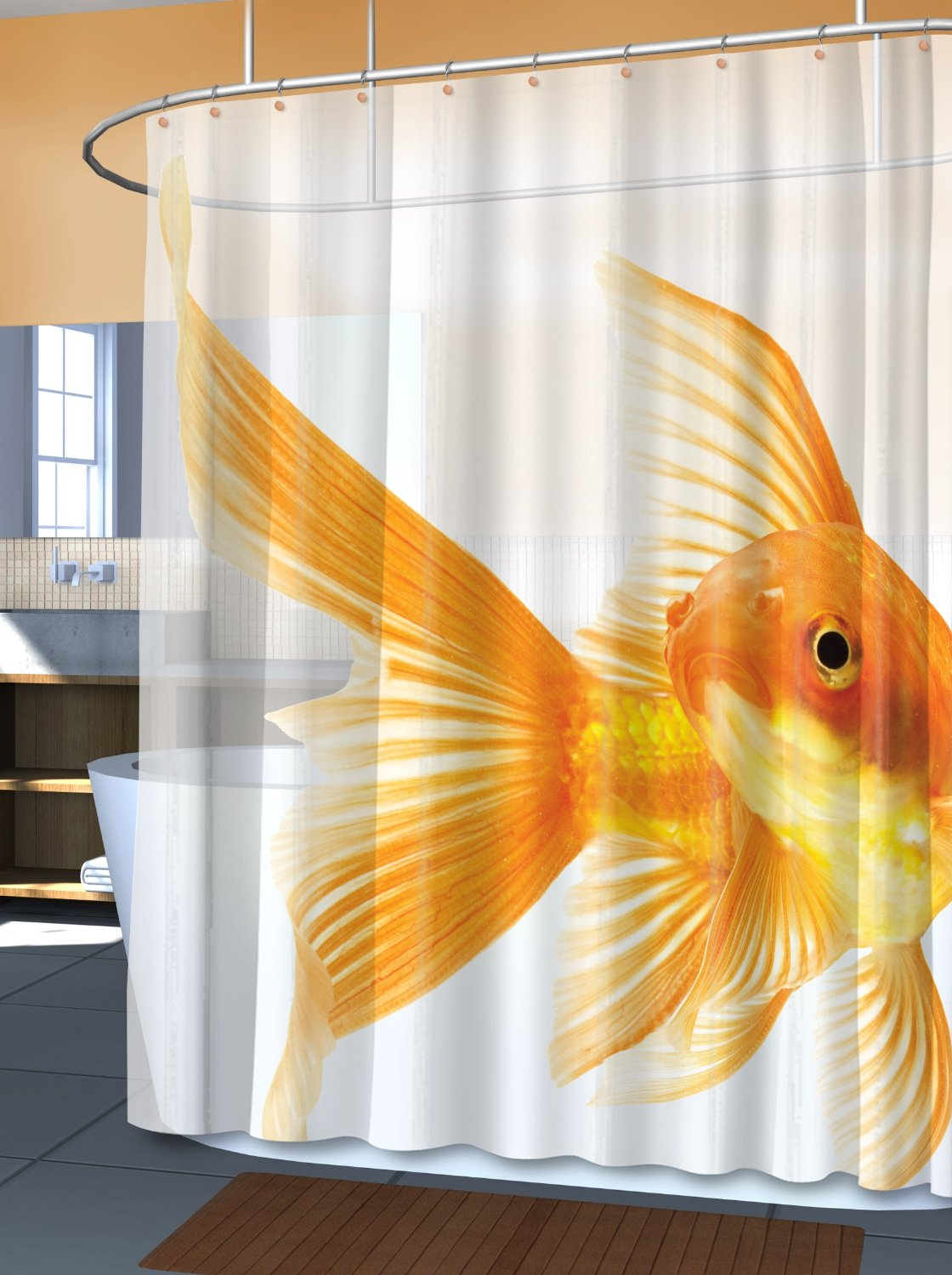 Cool shower curtains for kids - Goldfish Shower Curtain