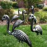 Skeleton Lawn Flamingos