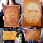 Engraved Wood Fan Art