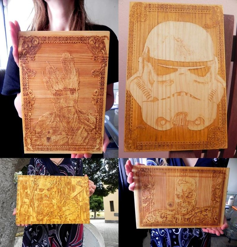 Engraved Wood Fan Art
