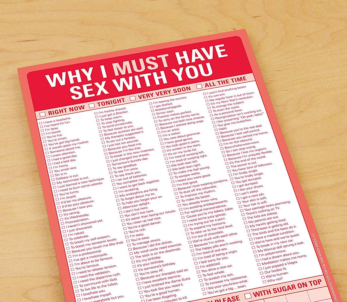 Why I Must Have Sex With You Checklist 1